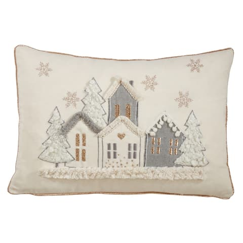 Cotton Pillow with Holiday Houses Design