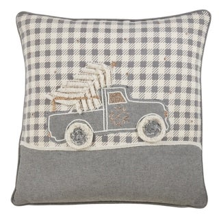 Cotton Pillow With Christmas Truck Design
