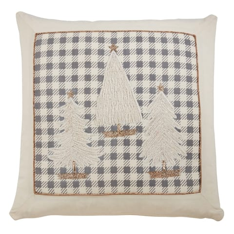 Plaid Pillow with Christmas Trees Design