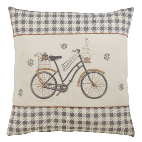 Plaid Pillow with Christmas Bicycle Design
