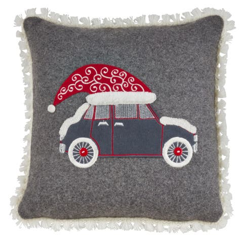 Pillow with Christmas Hat Car Design