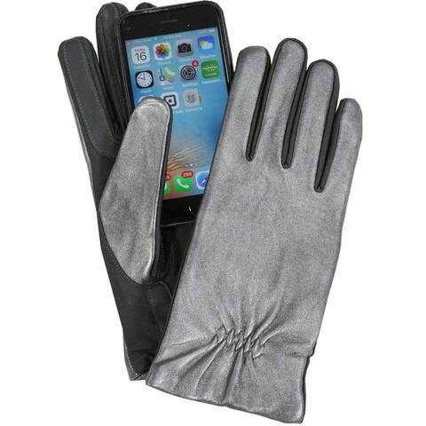 Isotoner Womens Leather & Spandex Touchscreen Gloves Silver