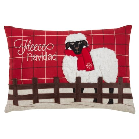 Plaid Christmas Pillow with Sheep Design