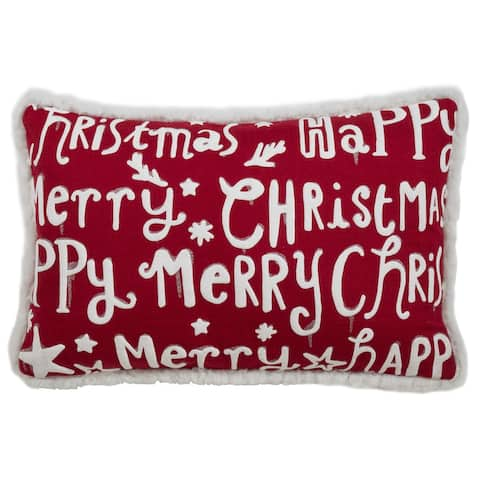 Christmas Pillow with Merry Happy Christmas Print