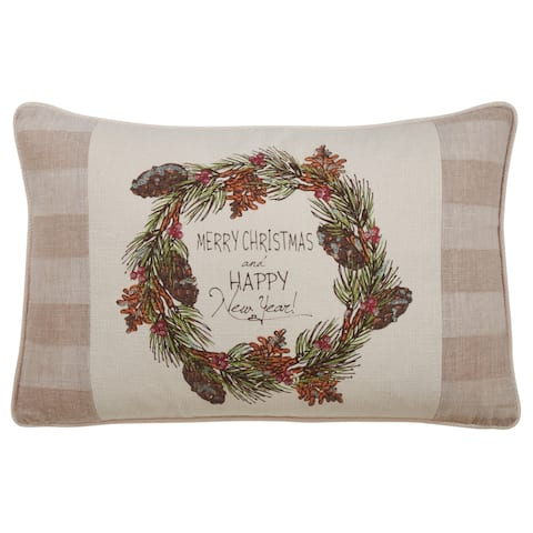 Throw Pillow with Merry Christmas & Happy New Year Design