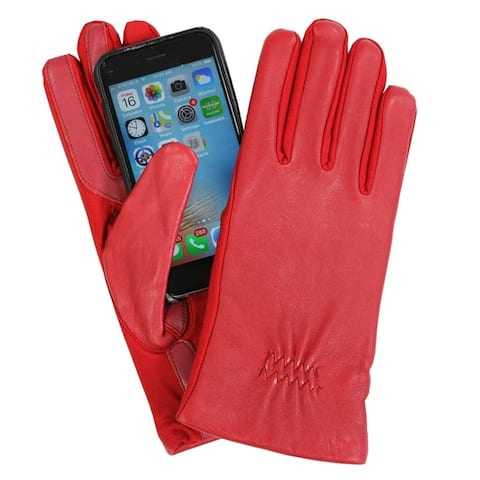 Isotoner Womens Leather & Spandex Touchscreen Gloves Red
