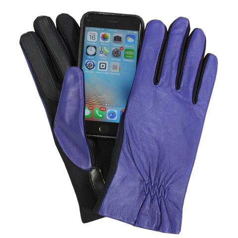 Isotoner Womens Leather & Spandex Touchscreen Gloves Cerulean Blue
