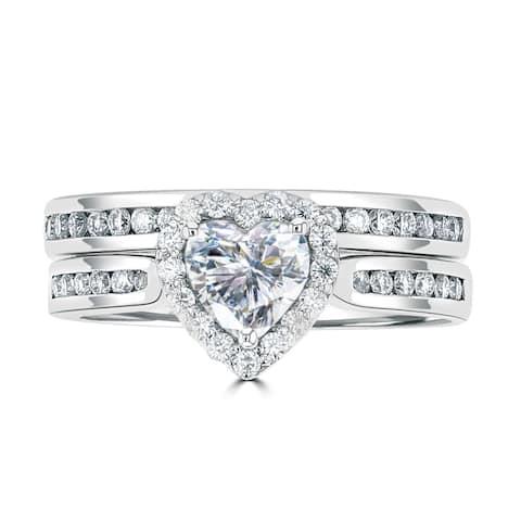 1.25ct TGW 14 Karat White Gold Sweetheart Wedding Ring Set with DEW Heart Cut Center
