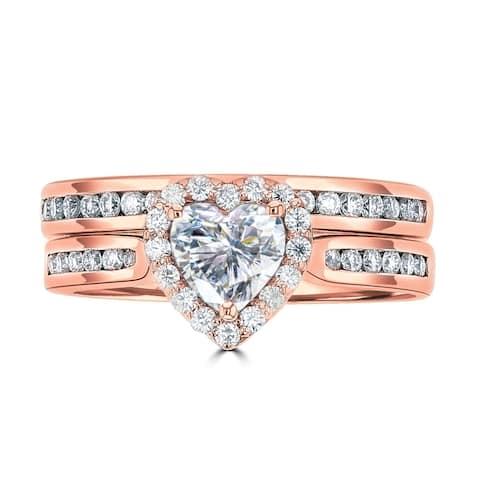 1.25ct TGW 14 Karat Rose Gold Sweetheart Wedding Ring Set with DEW Heart Cut Center
