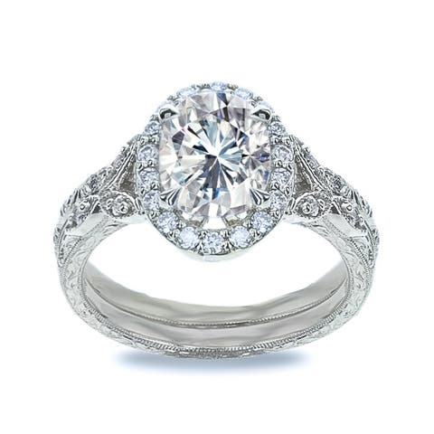 2.2ct TGW Hand Engraved 14 Karat White Gold Vintage Oval Wedding Ring Set