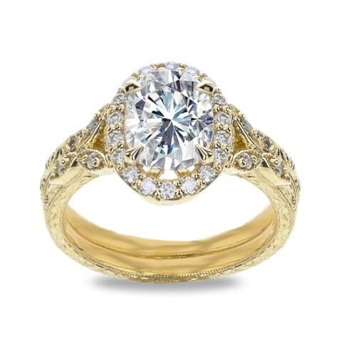 2.2ct TGW Hand Engraved 14 Karat Yellow Gold Vintage Oval Wedding Ring Set