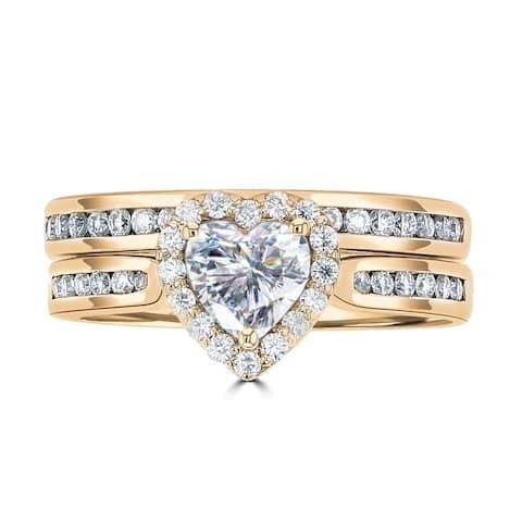 1.25ct TGW 14 Karat Yellow Gold Sweetheart Wedding Ring Set with DEW Heart Cut Center