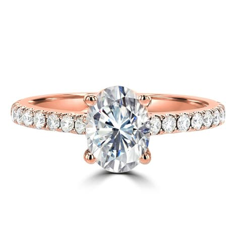 1.8ct TGW 14 Karat Rose Gold Oval Cut Moissanite Side Stone Engagement Ring