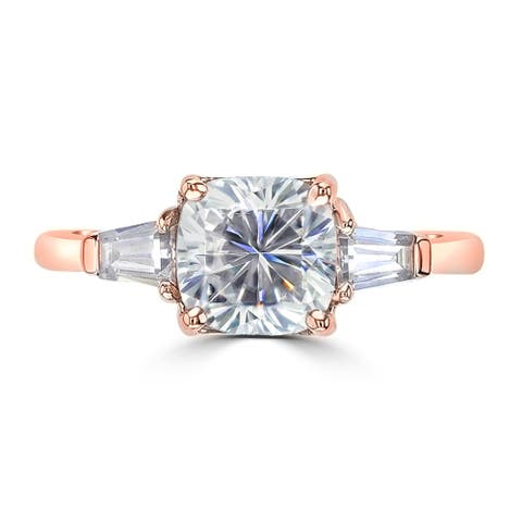 1.7ct TGW Three Stone Cushion Cut Moissanite Engagement Ring 14 Karat Rose Gold