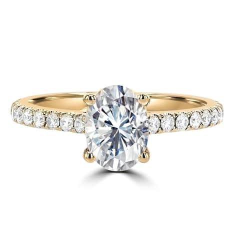 1.8ct TGW 14 Karat Yellow Gold Oval Cut Moissanite Side Stone Engagement Ring