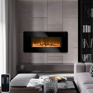 Link to Strick & Bolton Ruston Black Steel Electric Wall-mounted Fireplace Similar Items in Fireplaces