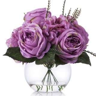 Enova Home Purple Hydrangea and Peony Flower Arrangement in Clear Glass Vase With Faux Water For Home Wedding Decoration