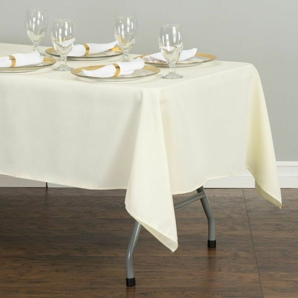"""Polyester Rectangle Tablecloth 60"""" x 126"""" Ivory"""