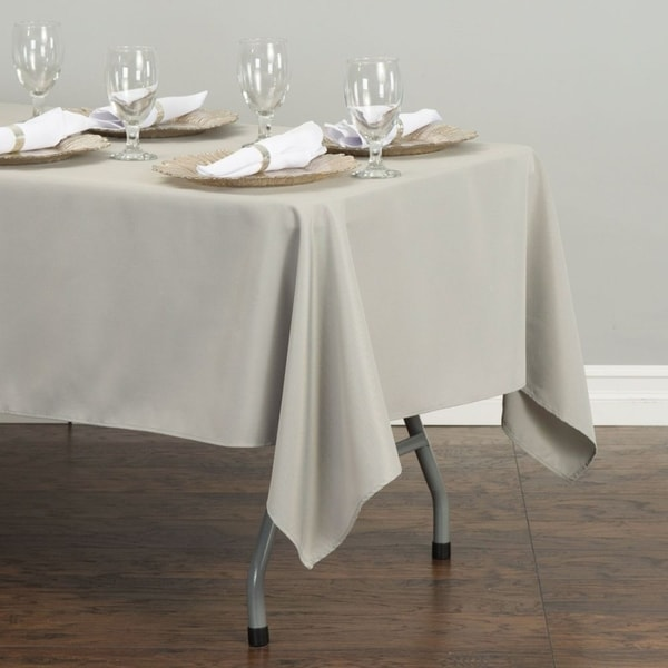"""Polyester Rectangle Tablecloth 60"""" x 126"""" Silver"""