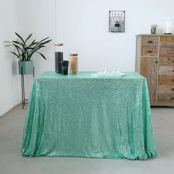 Sparkly Sequin Tablecloth 60'' x 120'' Mint