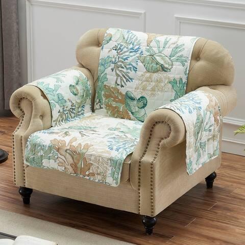 Porch & Den Gwinn Green Arm Chair Protector - Armchair