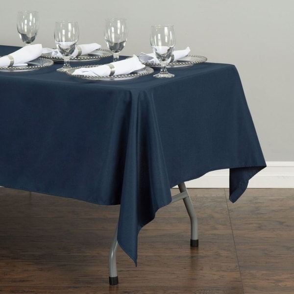 """Polyester Rectangle Tablecloth 60"""" x 126"""" Navy Blue"""