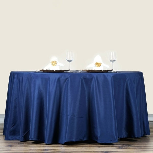 """Polyester Round Tablecloth 70"""" Navy Blue"""