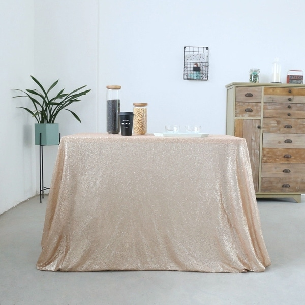 Sparkly Sequin Tablecloth 60'' x 120'' Champagne