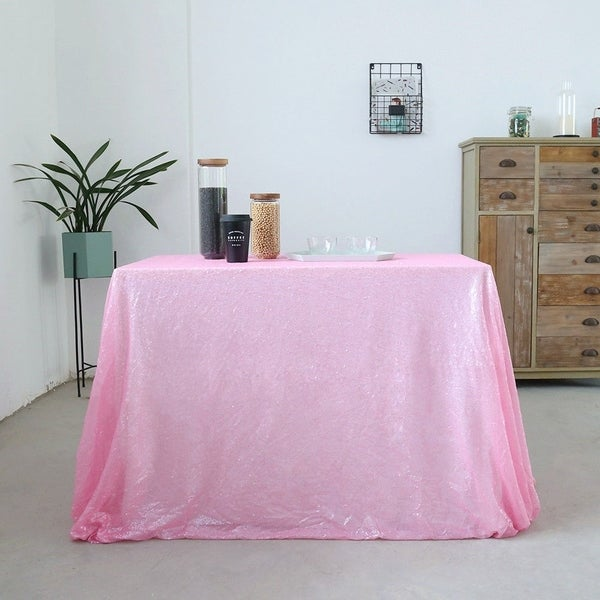 Sparkly Sequin Tablecloth 60'' x 120'' Blush Pink