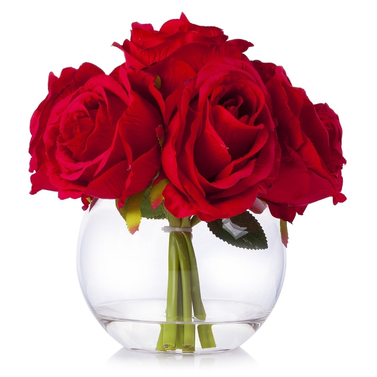 Enova Home 7 Heads Large Rose Flower Arrangement In Clear Glass Vase With Faux Water For Home Wedding Decoration Overstock 29822797 Red