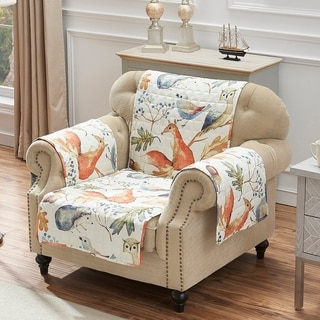 Link to Porch & Den Morilon Forest Wildlife Reversible Arm Chair Protector - 81 x 81 inches Similar Items in Slipcovers & Furniture Covers