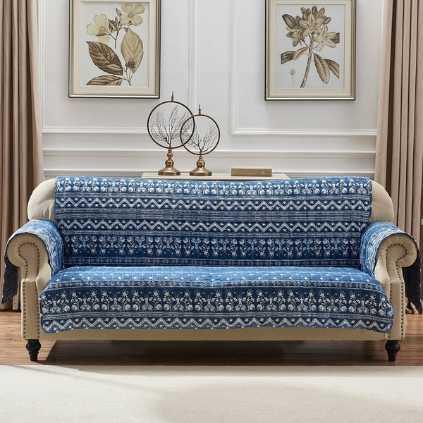 Barefoot Bungalow Embry Indigo Furniture Protector, Sofa - Couch