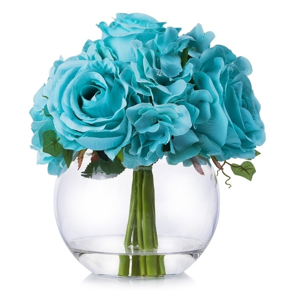 Enova Home Mixed Rose and Hydrangea Flower Arrangement in Clear Glass Vase With Faux Water - N/A
