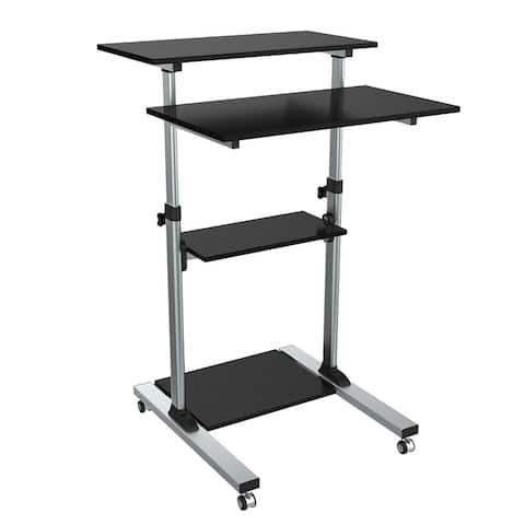 Fuji Labs Compact Height-Adjustable Computer Cart (Max Load: 132 Lbs) - Black
