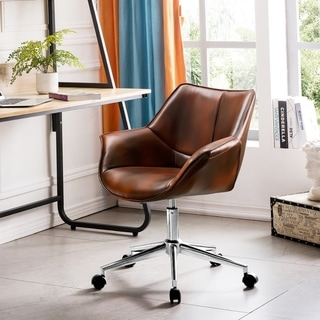 OVIOS Office Chair,Leather Computer Chair for Home Office or Conference.Swivel Desk Chair with Chrome Base and Arms