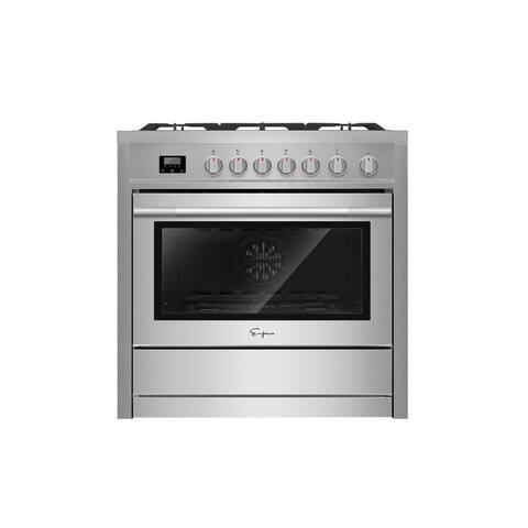 "Empava 36"" Freestanding Slide-In Single Oven Gas Range with 5 Sealed Burners Cooktop"