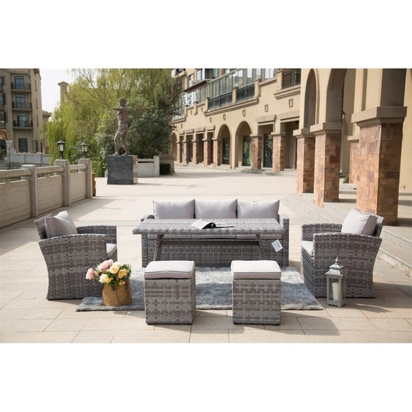 6-Piece Outdoor Patio Grey Wicker Dining Sofa Set by Direct Wicker