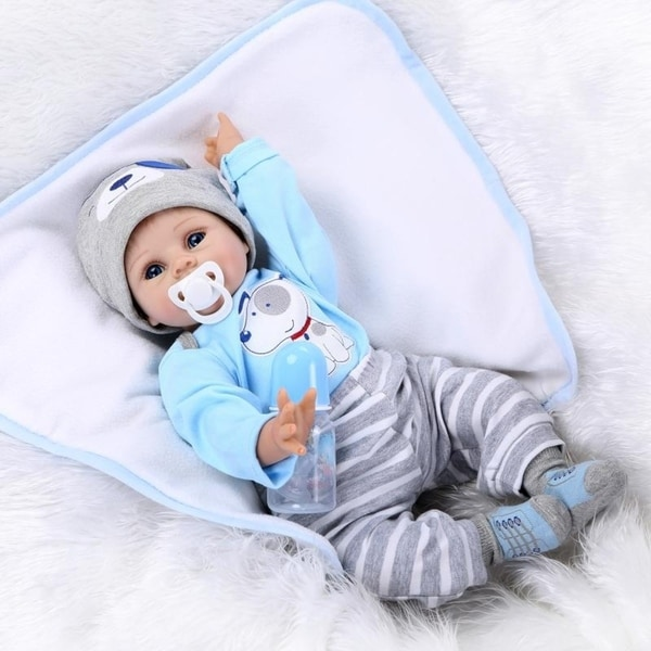 "22"" Mini Cute Simulation Baby Toy in Puppy Pattern Clothes Blue - silicone material. Opens flyout."