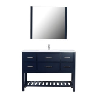 "Santa Monica 48"" Freestanding Vanity with Ceramic Top in Navy"