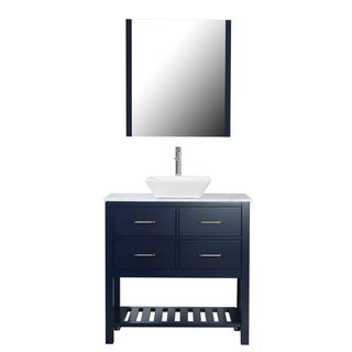 "Santa Monica 36"" Freestanding Vanity with Marble Top and Ceramic Basin  in Navy"