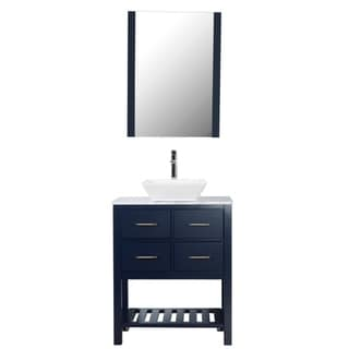 "Santa Monica 30"" Freestanding Vanity with Marble Top and Ceramic Basin  in Navy"
