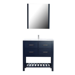 "Santa Monica 36"" Freestanding Vanity with Ceramic Top in Navy"
