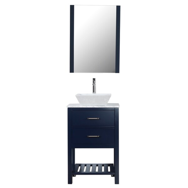 """Santa Monica 24"""" Freestanding Vanity with White Marble Top and Marble Basin in Navy"""