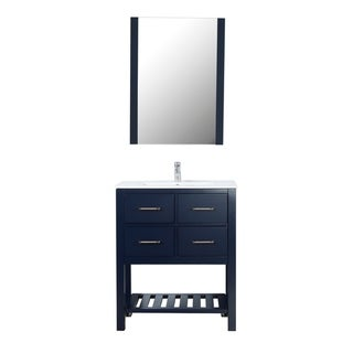 "Santa Monica 30"" Freestanding Vanity with Ceramic Top in Navy"