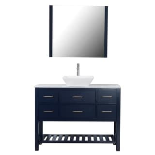 "Santa Monica 48"" Freestanding Vanity with Marble Top and Ceramic Basin  in Navy"