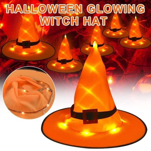 Hanging Lighted Glowing Witch Hat Decorations Fashion Halloween Lights Halloween Decor for Outdoor Yard Tree MCTY Witch Hat Halloween Decorations