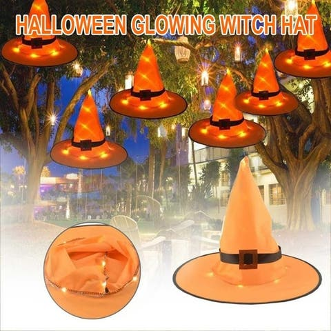 1/2/4PCS Halloween Glowing Witch Hat LED Decoration Lights Outdoor Hanging Lighting Party Decoration Cosplay Witch Hats