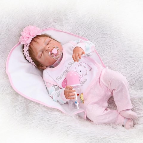 Fashionable Play House Toy Lovely Simulation Baby Doll - Pink - silicone material