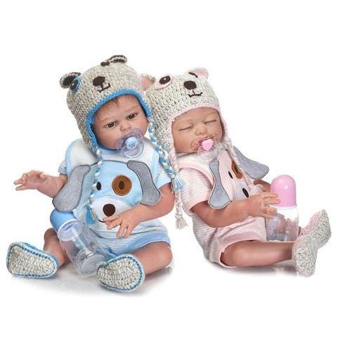 Blue Pup Fashionable Play House Toy Lovely Simulation Baby Doll - silicone material