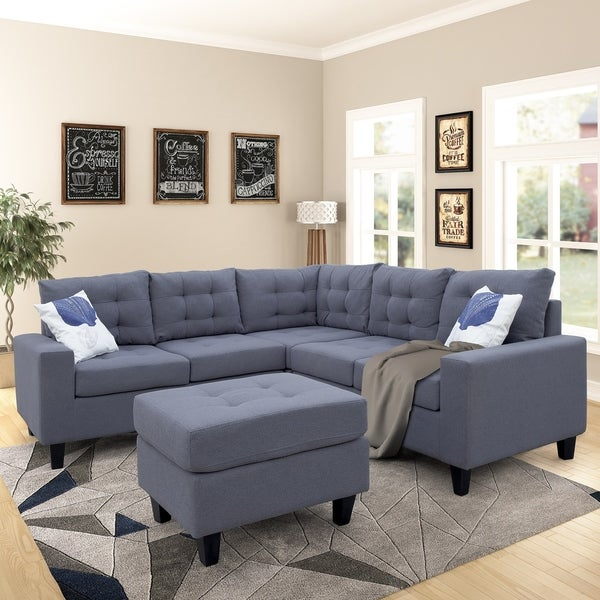 Copper Grove Sevan Symmetrical Sectional Sofa with Ottoman